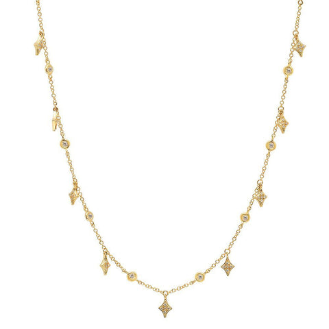 delicate dainty kite diamond shaker necklace 14K yellow gold sachi jewelry