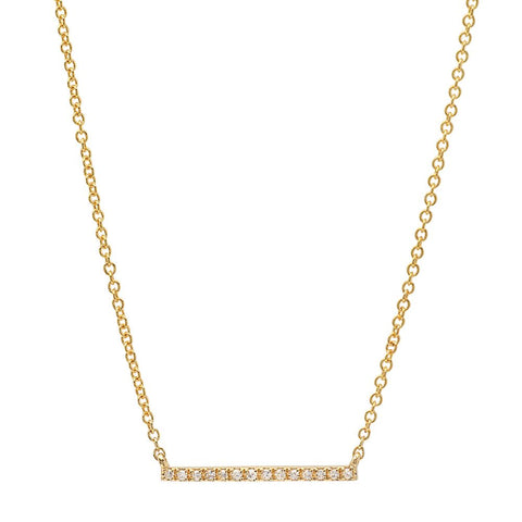 delicate dainty classic mini micro diamond bar necklace 14K yellow gold sachi jewelry