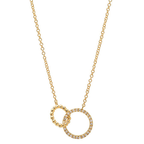 dainty double circle bead diamond necklace 14K yellow gold sachi jewelry