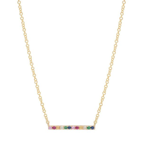 rainbow bar stone necklace 14K yellow gold sachi jewelry