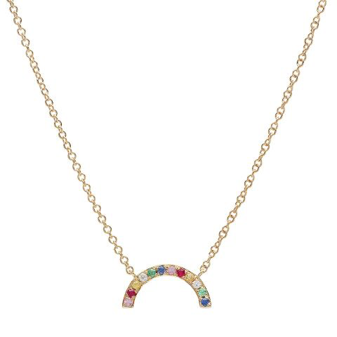 delicate rainbow arc diamond necklace 14K yellow gold sachi jewelry