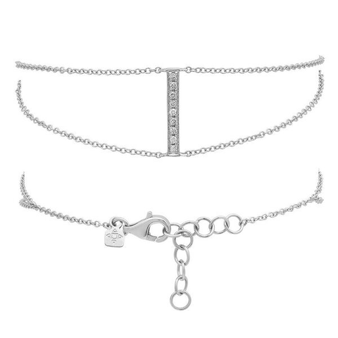 dainty double chain diamond bracelet 14K white gold jewelry