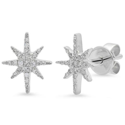 dainty starburst diamond studs earrings 14K white gold sachi jewelry