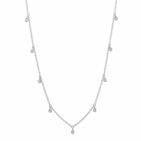 delicate dainty pear drop diamond shaker 14K white gold sachi jewelry