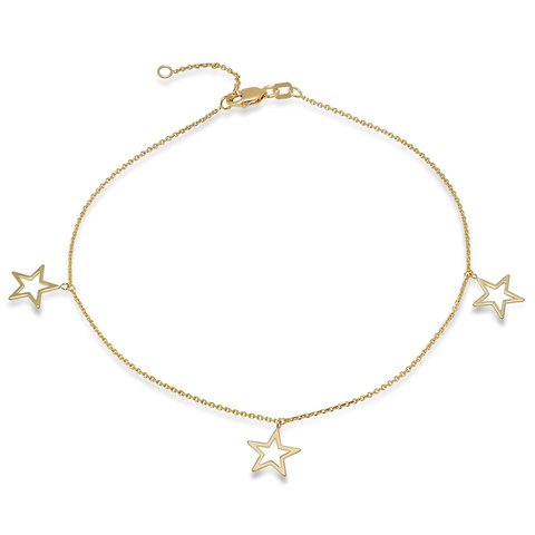 star trio dangle anklet 14K solid gold delicate dainty sachi jewelry