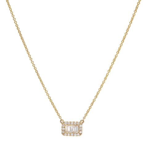 east west baguette diamond micro pave necklace 14K yellow gold sachi jewelry