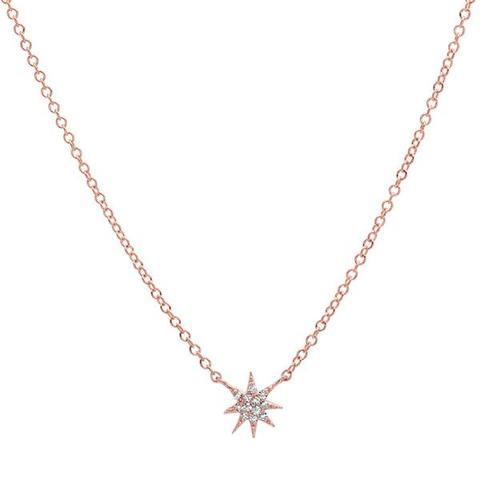 delicate dainty mini starburst diamond necklace 14K rose gold sachi jewelry