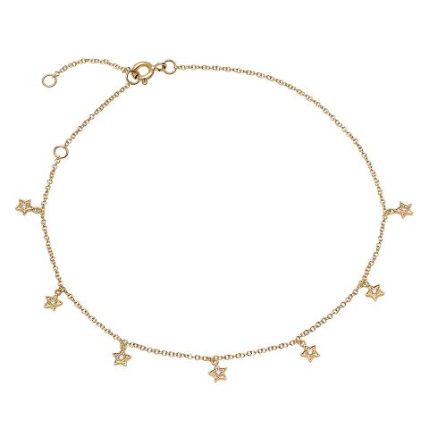 dainty delicate dangling diamond star anklet 14K yellow gold sachi jewelry