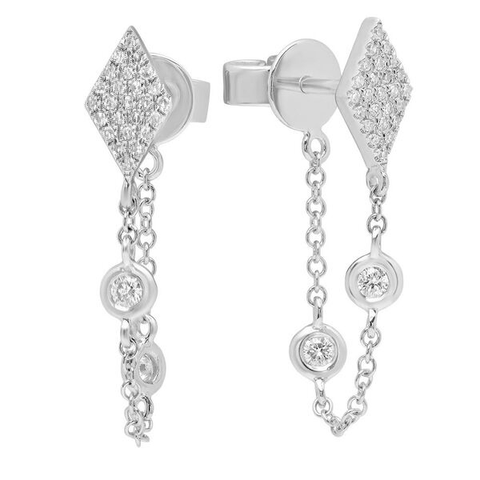 kite diamond chain earring hip 14K white gold sachi jewelry