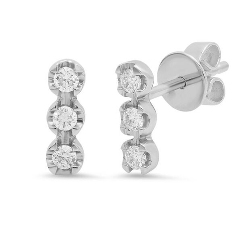 triple diamond bar stud earrings 14K white gold sachi jewelry
