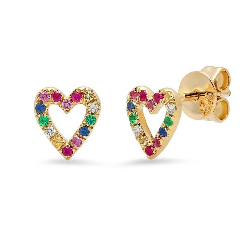 rainbow heart outline studs earrings 14K yellow gold sachi jewelry