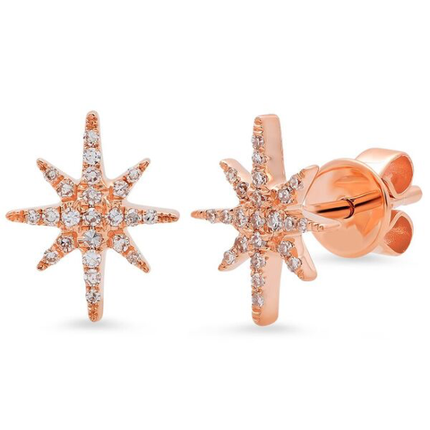 dainty starburst diamond studs earrings 14K rose gold sachi jewelry