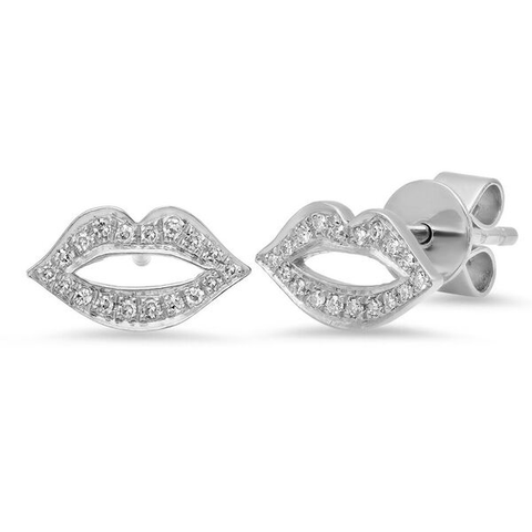 lip diamond studs earrings 14K white gold sachi jewelry