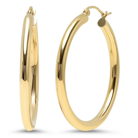 thick gold hoops earrings 14K yellow gold sachi jewelry
