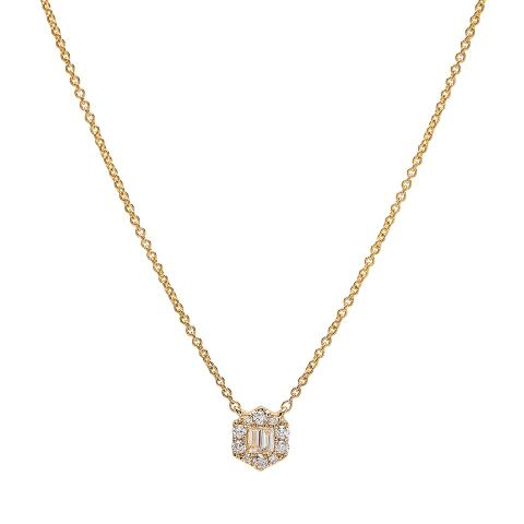 hex diamond dainty delicate necklace 14K yellow gold sachi jewelry