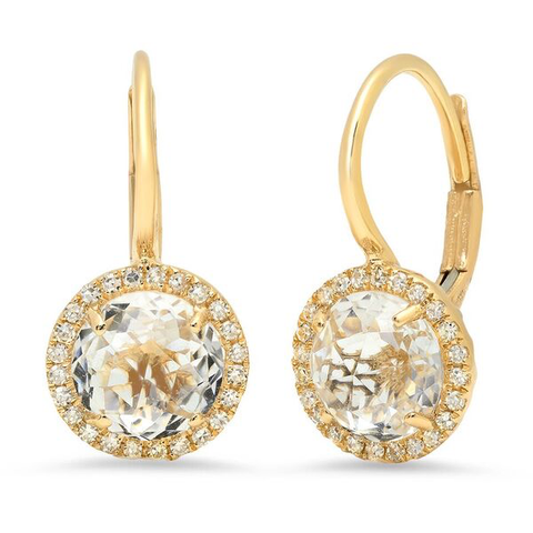 white topaz diamond round drop earrings 14K rose gold sachi jewelry