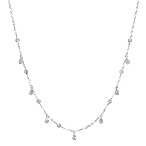 delicate pave pear drop diamond shaker necklace 14K white gold sachi jewelry