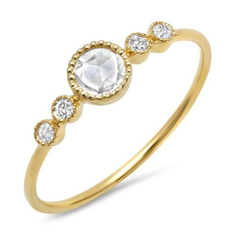 dainty circle topaz diamond bezel ring 14K yellow gold sachi jewelry