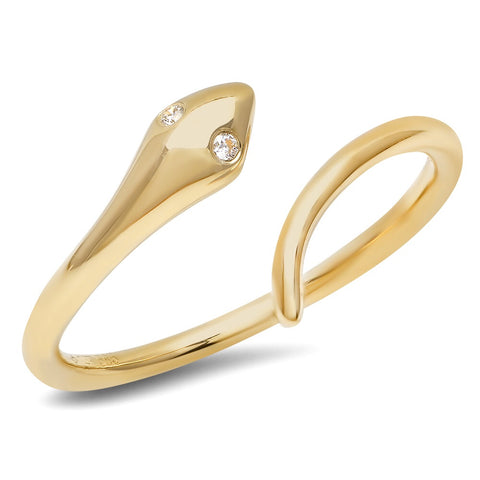 Sachi Snake Yellow Gold Ring Diamond Eyes 14K yellow gold jewelry