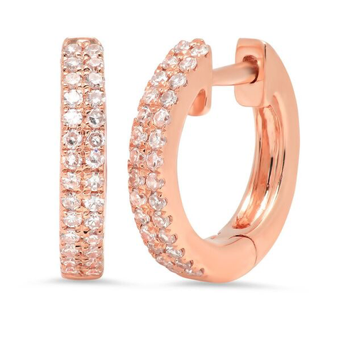 double row diamond classic huggies earrings 14K rose gold sachi jewelry