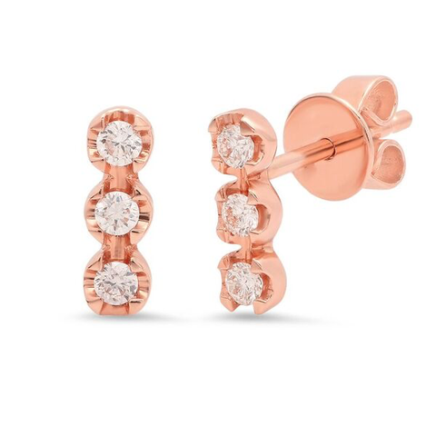 triple diamond bar stud earrings 14K rose gold sachi jewelry