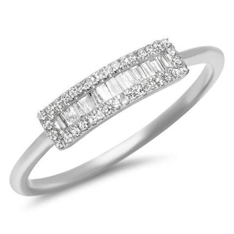 small baguette segment diamond ring 14K white gold sachi jewelry