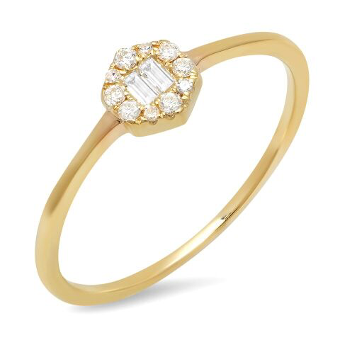 hex baguette dainty ring 14K solid gold sachi jewelry