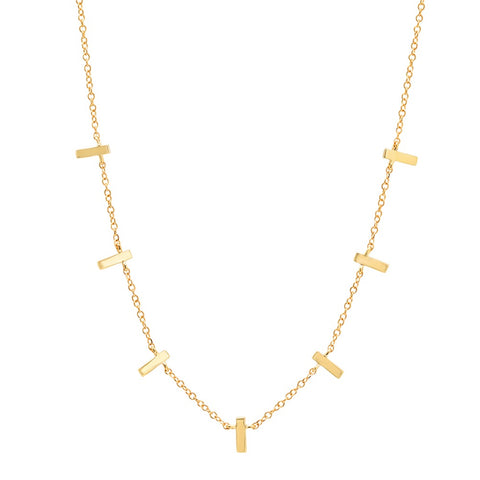 dainty delicate multi plan gold bar necklace 14K yellow gold sachi jewelry