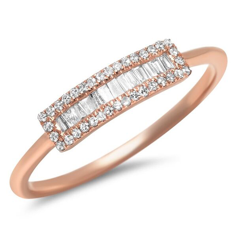 small baguette segment diamond ring 14K rose gold sachi jewelry