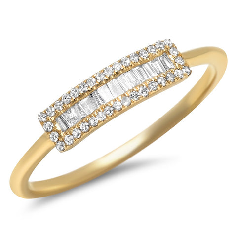 small baguette segment diamond ring 14K yellow gold sachi jewelry