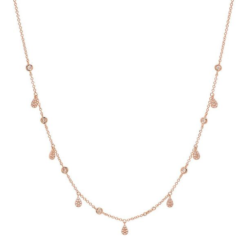 delicate pave pear drop diamond shaker necklace 14K rose gold sachi jewelry