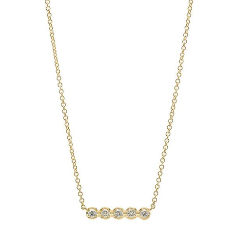 5 diamond bar prong 14K gold delicate dainty sachi necklace