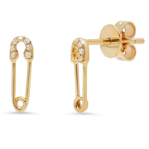mini safety pin diamond earrings 14K yellow gold sachi jewelry
