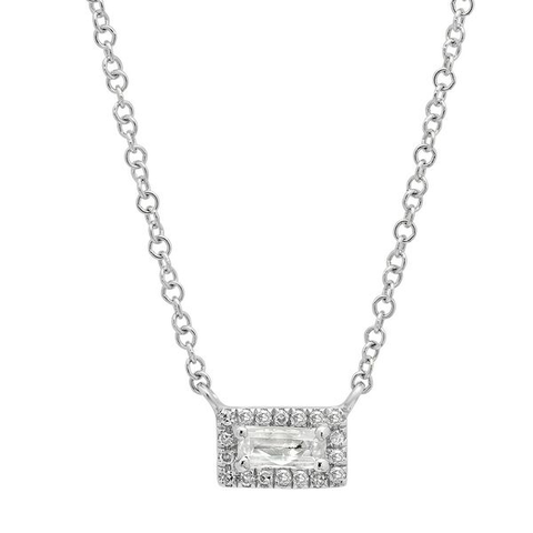 dainty white topaz diamond bar necklace 14K white gold sachi jewelry