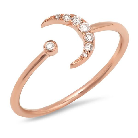 crescent moon and diamond cuff ring rose gold dainty delicate hip sachi jewelry