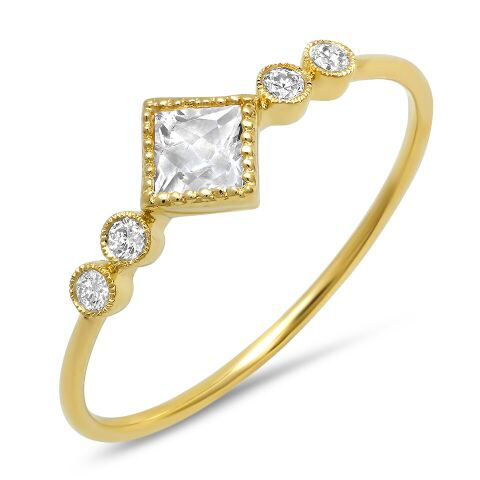 diamond topaz bezel ring 14K yellow gold sachi jewelry