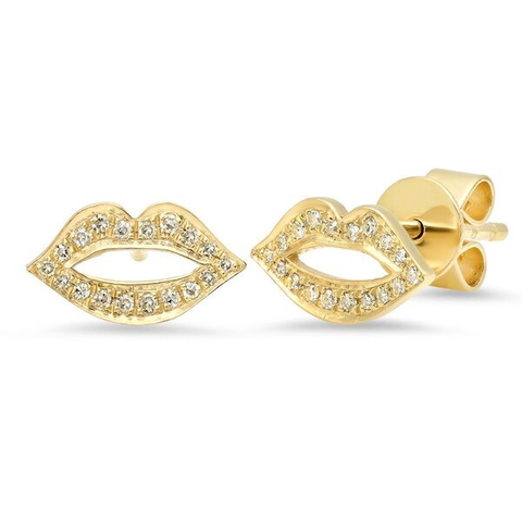lip diamond studs earrings 14K yellow gold sachi jewelry