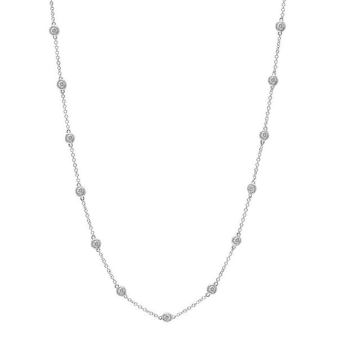 diamonds by the yard choker necklace 14K white gold jewelry