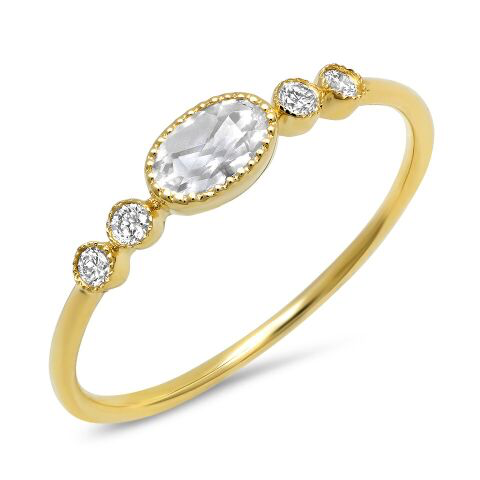 oval topaz bezel diamond ring 14K yellow gold sachi jewelry