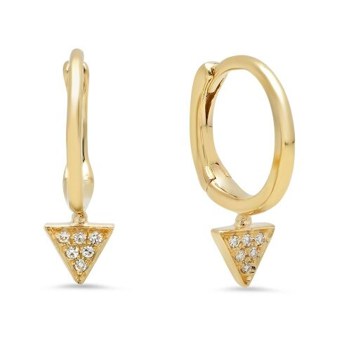 triangle drop diamond huggies 14K solid gold sachi jewelry