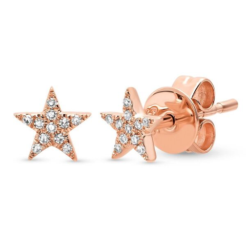 mini micro diamond star studs earrings 14K rose gold sachi jewelry