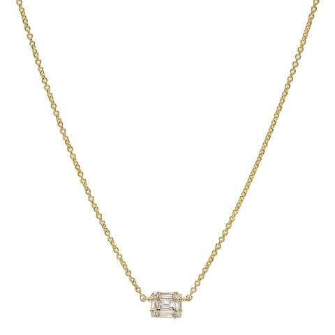 east west baguette solitaire diamond necklace 14K yellow gold sachi jewelry