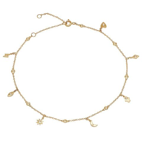 diamond charm dainty anklet 14K yellow gold sachi jewelry