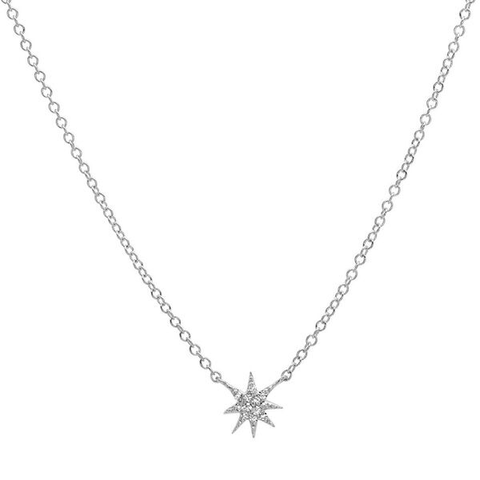 delicate dainty mini starburst diamond necklace 14K white gold sachi jewelry