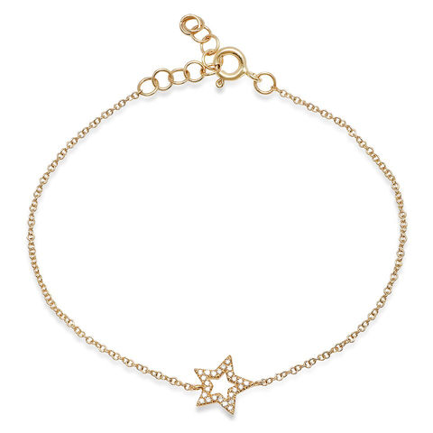 open diamond star bracelet 14K yellow gold sachi fine jewelry