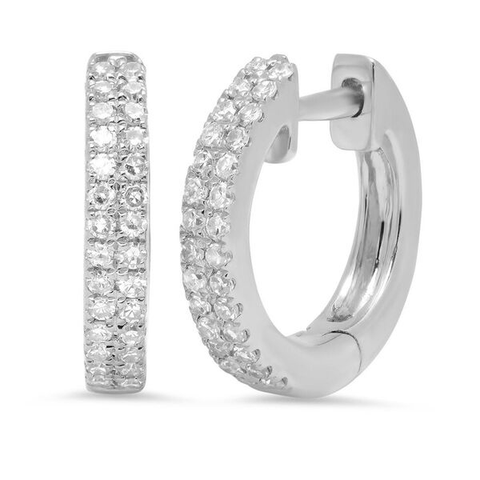 double row diamond classic huggies earrings 14K white gold sachi jewelry