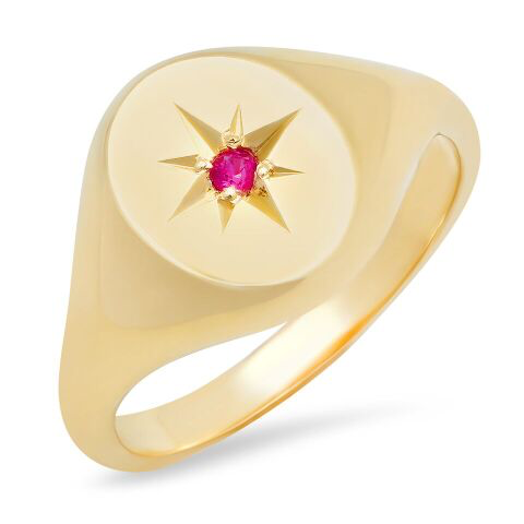 jumbo oval star pinky signet ring 14K solid gold sachi jewelry
