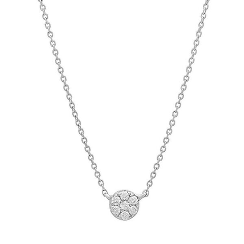 delicate dainty round floating diamond necklace 14K white gold sachi jewelry