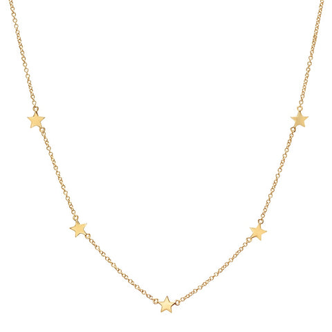 5 star diamond station 14K solid gold delicate dainty sachi necklace