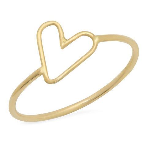 delicate dainty open heart outline ring 14K yellow gold sachi jewelry